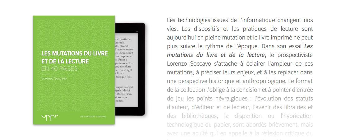 Les mutations du livre et de la lecture, par Lorenzo Soccavo
