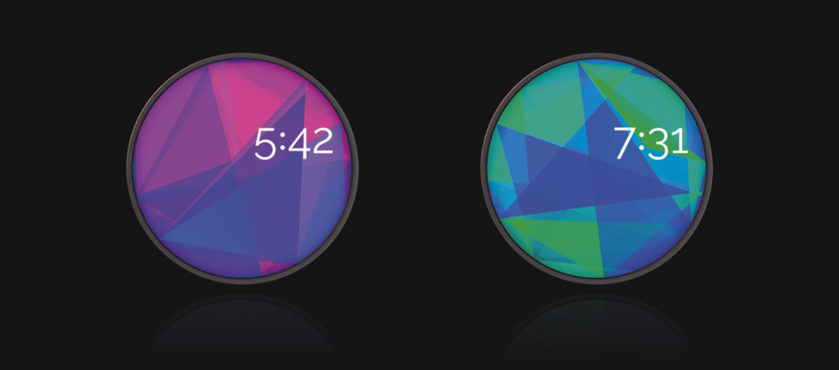 Bouncing Isaac, a watch face inspired by light and physics