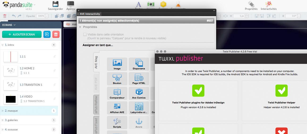Pandasuite / Aquafadas / Twixl, comparaison des tarifs et fonctionnalités d'une application Mono-document