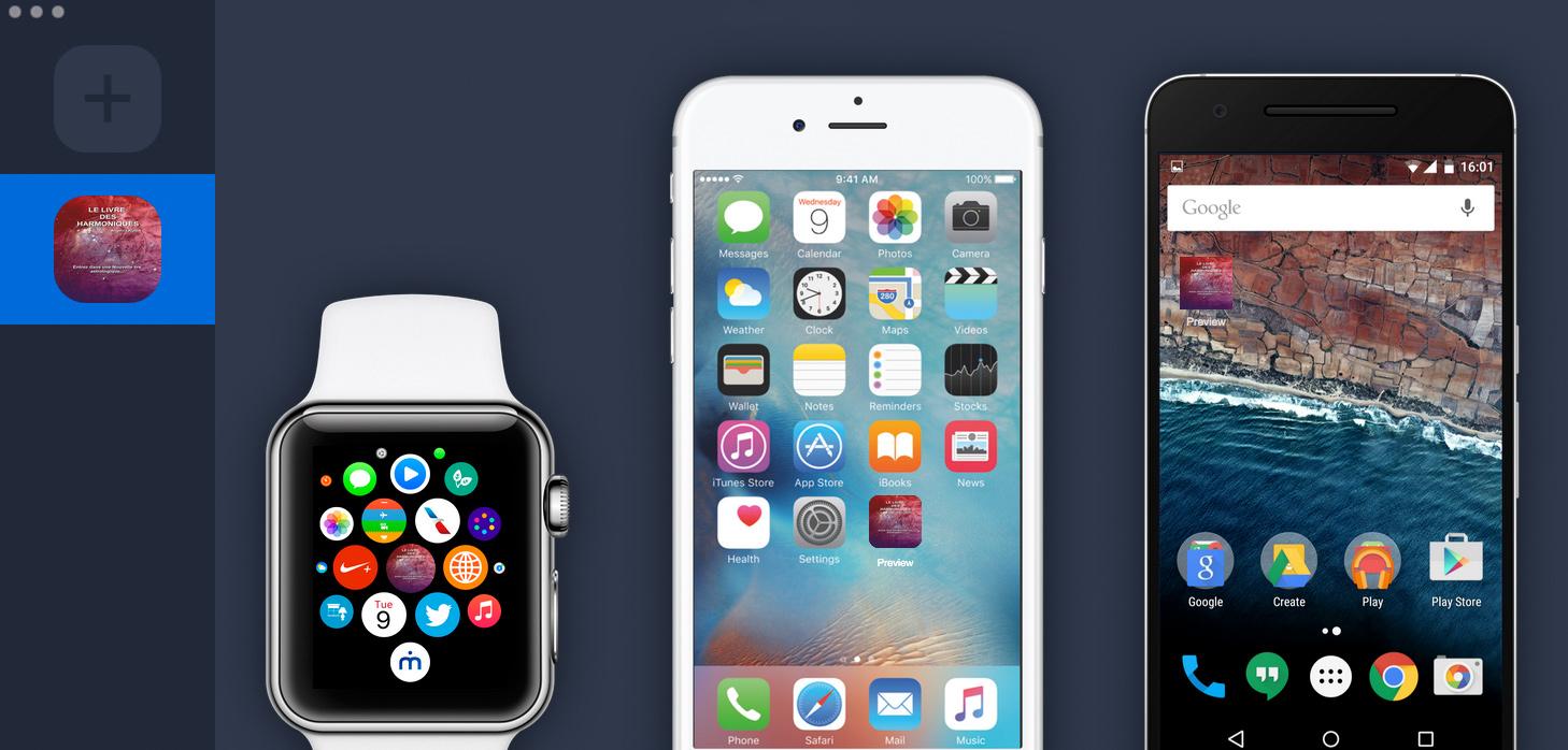 MakeAppIcon est disponible en appli desktop pour créer vos icônes d'applications