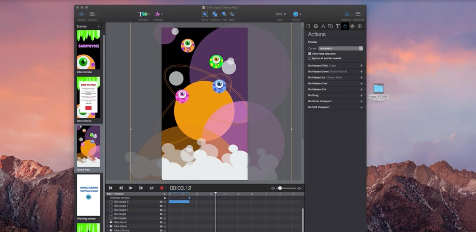 13 tutos vidéos pour intégrer une animation Hype en app native Swift via Xcode