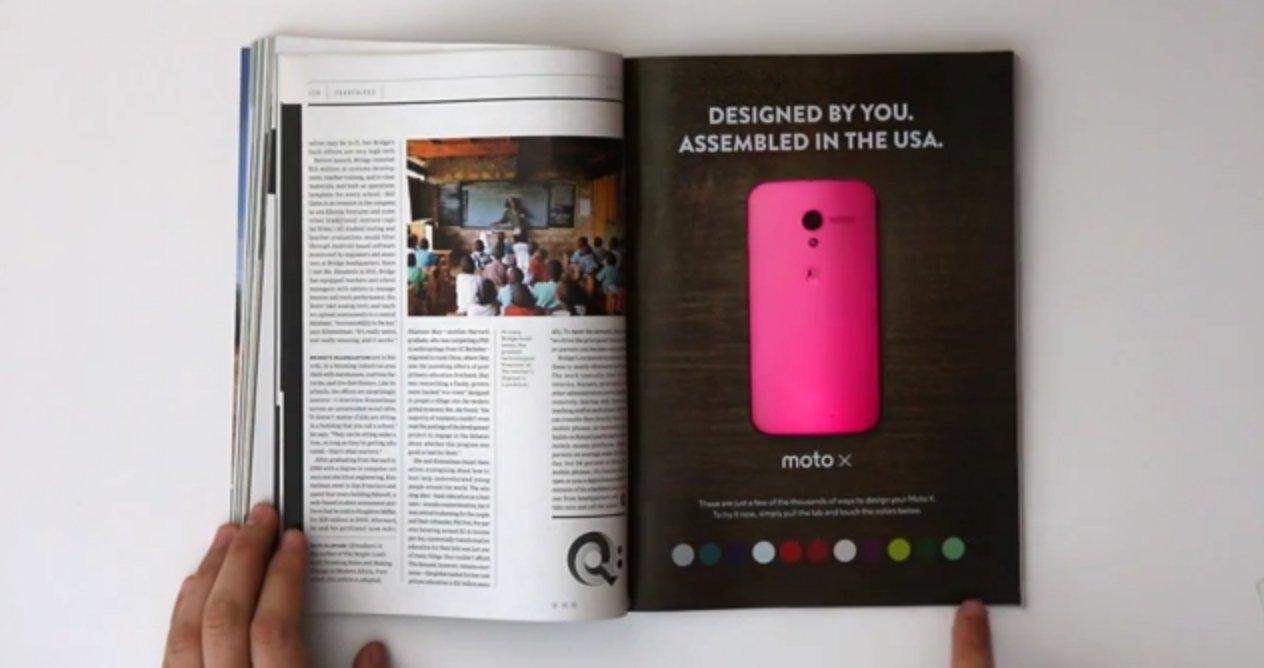 Motorola : une pub interactive dans le magazine Wired